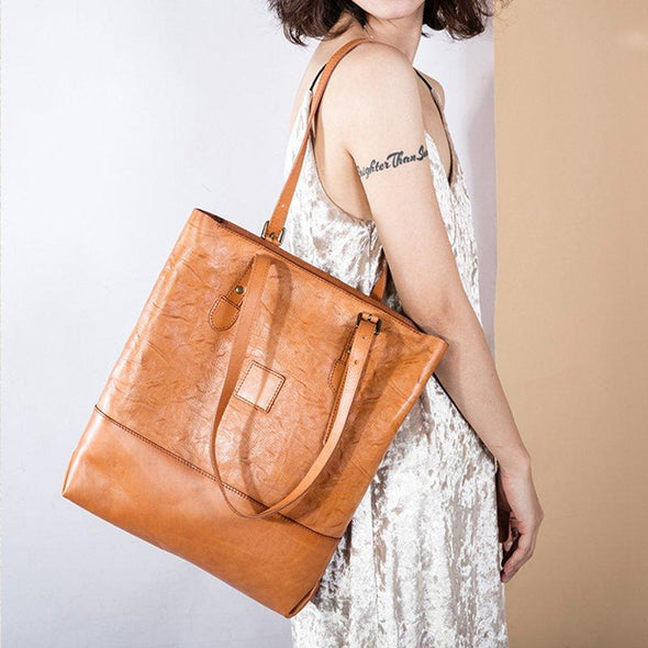 FantasyLinen Vegetable Tanning Leather Simple Tote Bag, Handmade Vintage Shoulder Bag B87179 - FantasyLinen