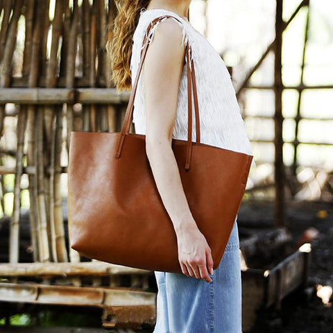 Simply Handmade Vintage Style Single Shoulder Bag Genuine Leather Tote B3719