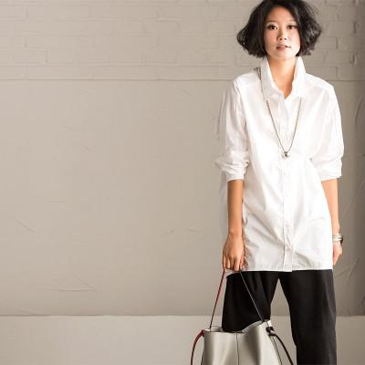 Simply White Long Sleeve Shirt Women Tops C1595A - FantasyLinen