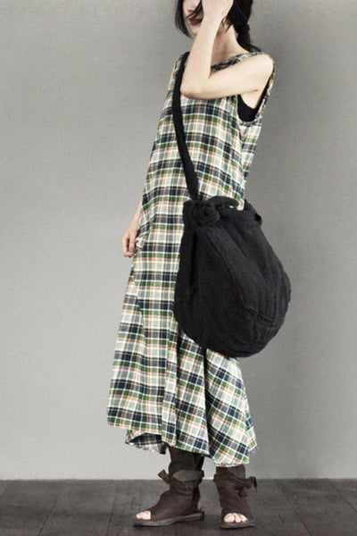 Sleeveless Grid Simple Summer Long Dress Women Clothes