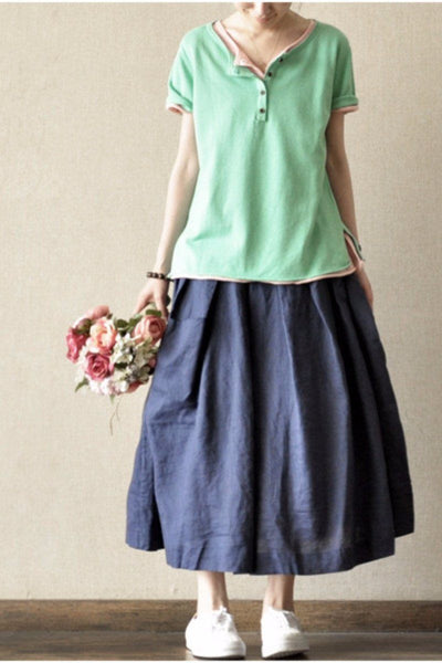 Soft Sweet Lovely Short Knitwear Cotton Top Blouse Women Clothes LR015