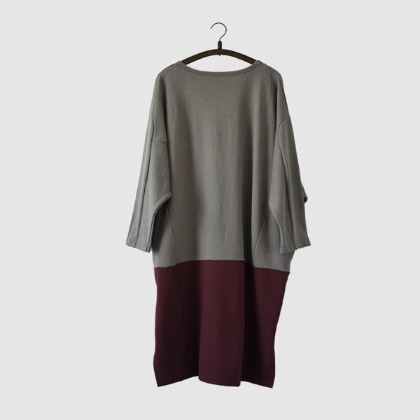 Spell Color Fleece Dress Warm Winter Cotton Top Causel Women Clothes - FantasyLinen