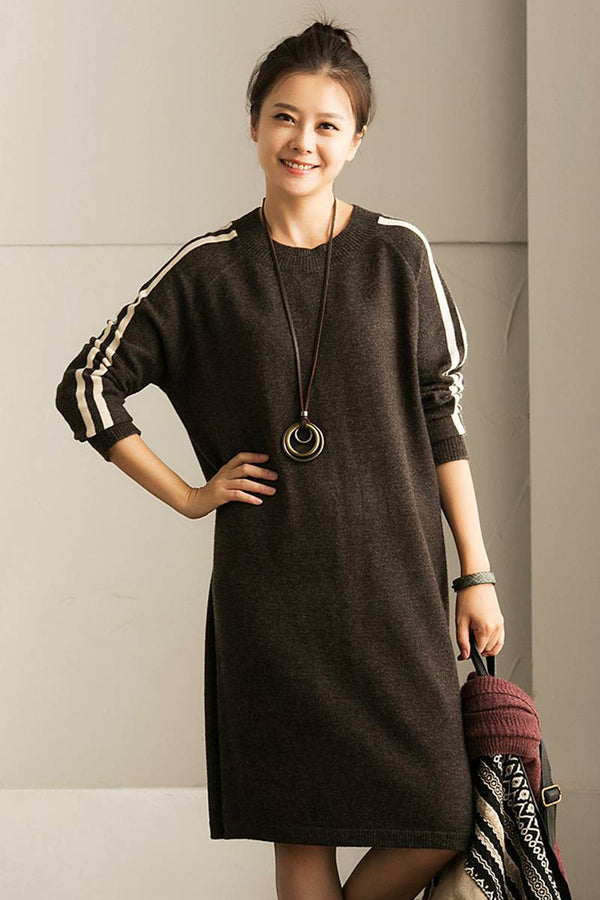 FantasyLinen Streak Loose Kintwear Dress, Sport Casual Pullover Dress Q6159A - FantasyLinen