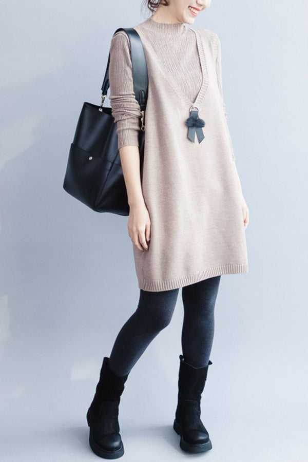 Women Turtleneck Sweater, Knitted Cotton Stretchy Two-piece Dress Q5291 - FantasyLinen