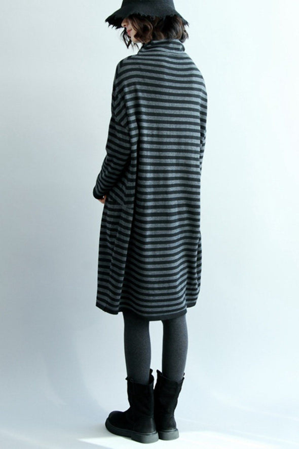 FantasyLinen Stripe High Neck Knitted Cotton Dress, Simple Base Dress Q5062 - FantasyLinen
