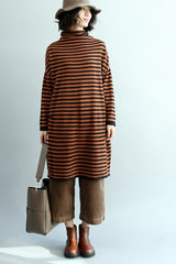 FantasyLinen Stripe High Neck Knitted Cotton Dress, Simple Base Dress Q5062