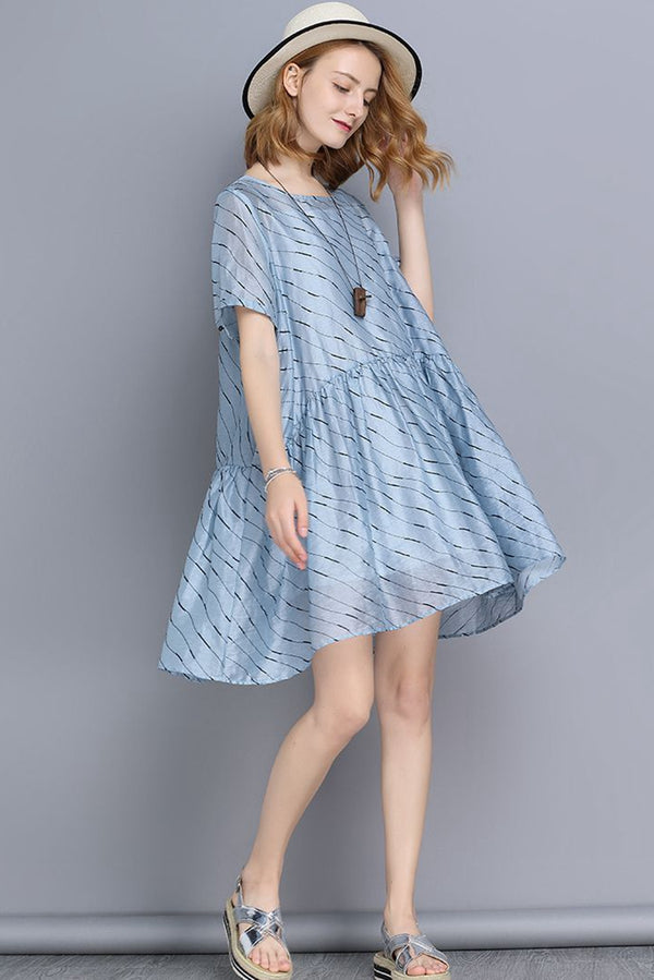 FantasyLinen Blue Stripe Casual Loose Mini Dresses V6175