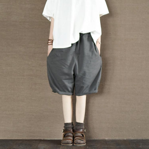 Summer Gray Cotton Shorts Women Pants Daily Leisure Clothes