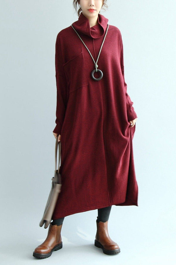 Women High Neck Sweater Dress, Maxi Raglan Sleeve Dress Q5138 - FantasyLinen