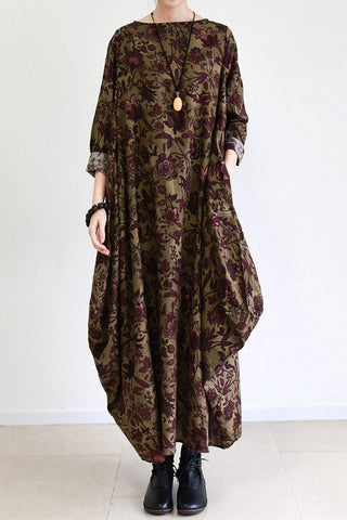 2017 Fall Brown Baggy Long Sleeve Linen Dresses Cotton Maxi Dresses Oversize Women Clothing Q0307