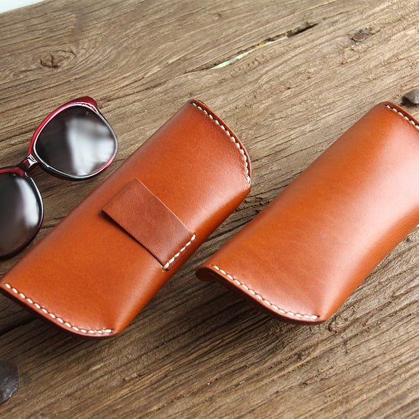 Vintage Handmade Glasses Case Cow Leather Eyeglasses Box Bag