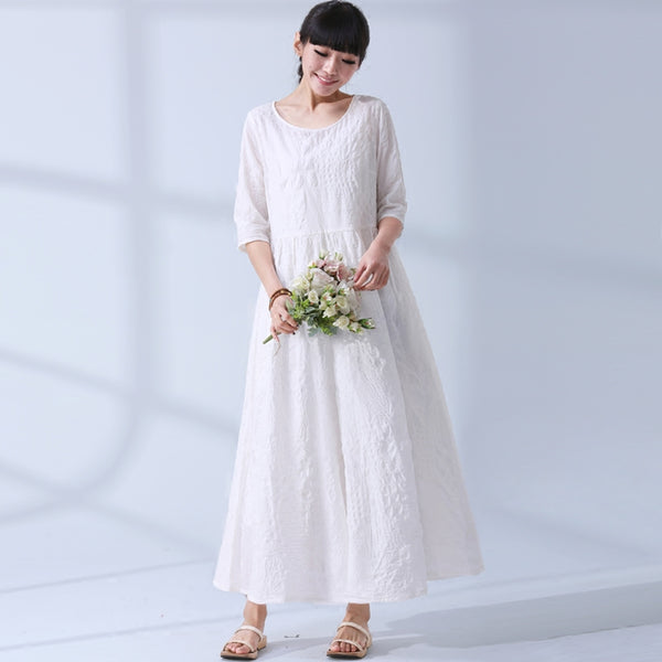 National Wind Summer Elegant Jacquard Cotton Linen Casual Loose Maxi Long Women Dress