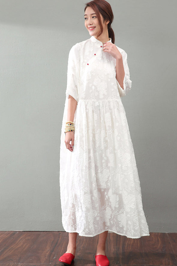 National Wind Elegant Jacquard Lace Maxi Plus Size Women Dress