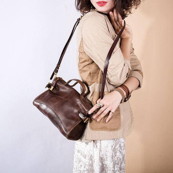 FantasyLinen Vintage Vegetable Tanning Leather Satchel Bag, Women Shoulder Bag B87178 - FantasyLinen