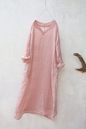 Summer Women Loose Lattice Casual Linen Cotton Pink Dress
