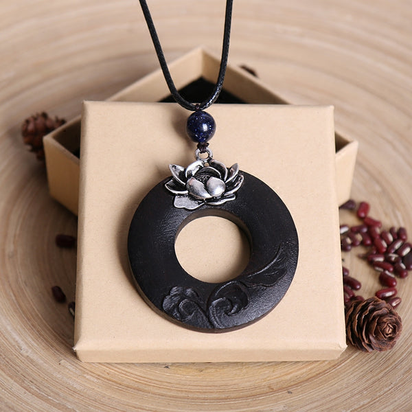Handmade Fashion Lotus Pendant Metal Wood Long Necklaces For Women