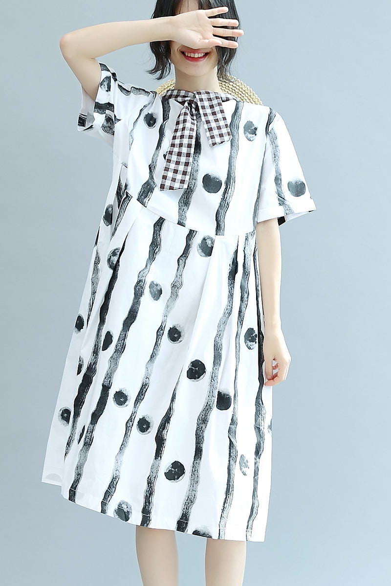 b71002532 Cute Line Dot Neck Cotton White Women Summer Casual Loose Fitting Dresses