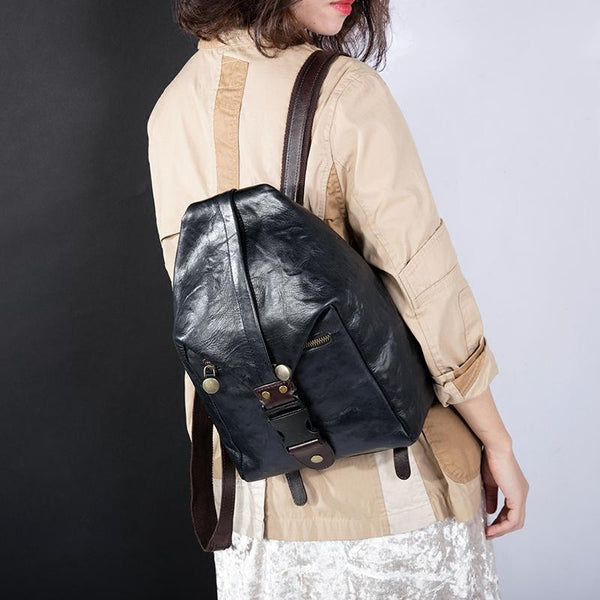 FantasyLinen Full Grain Leather Vintage Literary Backpack, Women Handmade Bag B87181 - FantasyLinen
