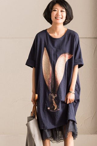 Bamboo Cotton Lovely Printing Squirrel T-shirt Dress Causel Women Clothes Q1276B