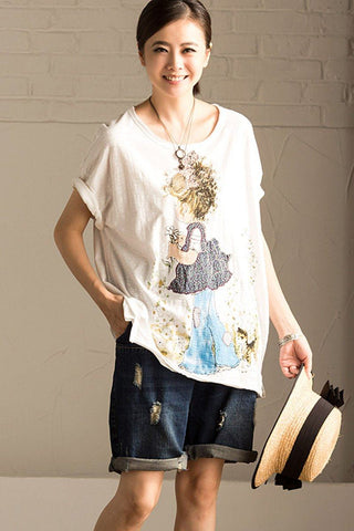 White Cotton Casual Lovely T-shirt T518B
