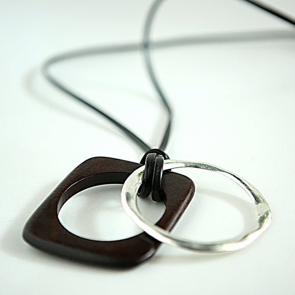 Retro Women Leather Metal Rectangle Wood Necklaces