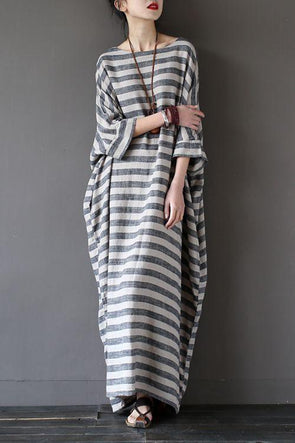 Stripe Loose Big Size Maxi Size Dresses Summer Plus Sizes Women Clothes Q3015 - FantasyLinen