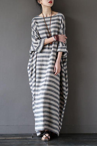 Stripe Loose Big Size Maxi Size Dresses Summer Plus Sizes Women Clothes Q3015