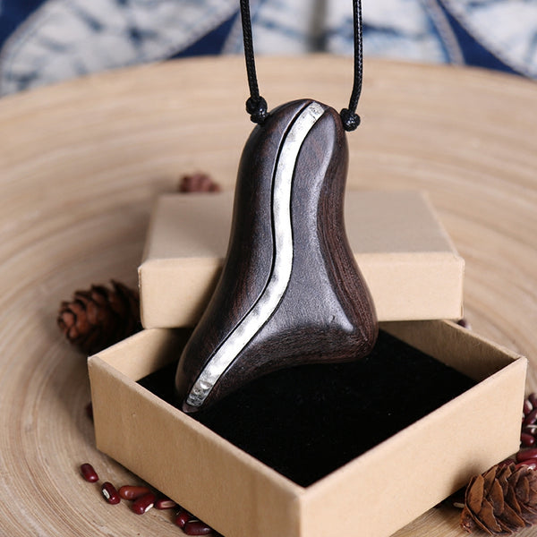 Retro Design Pendant Metal Wood Long Necklaces For Women