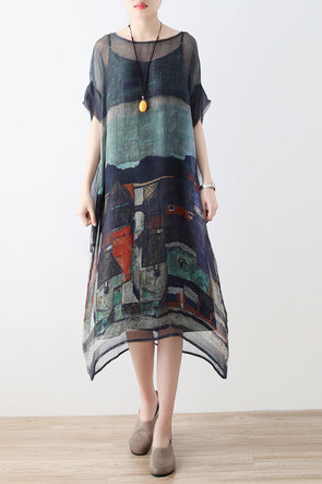Art Tall Printing Summer Short Sleeves Round Neck Loose Dress - FantasyLinen
