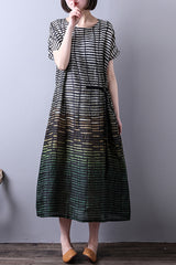Linen Stripe Loose Casual Summer Women Green Maxi Dress