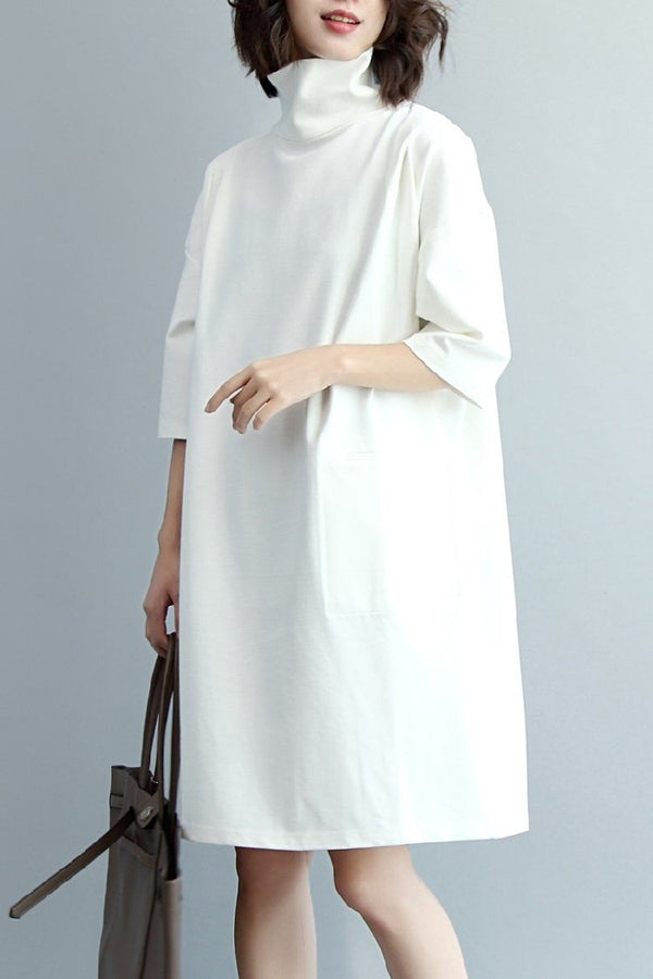 Women High Neck Loose Knitted Cotton Dress, Half Sleeve Dress Q7280 - FantasyLinen