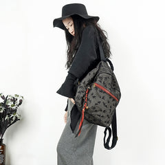 Handmade Bird Printing Cotton Big Bag Backpack Women Bag School Bag S025
