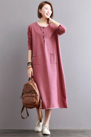 Raw Hem Patch Pocket Loose Fleece Dress