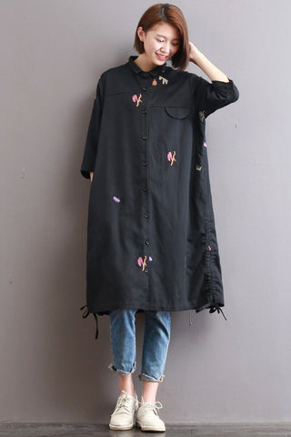 Flowers Embroidered Bow Tie Hem Shirt Dress
