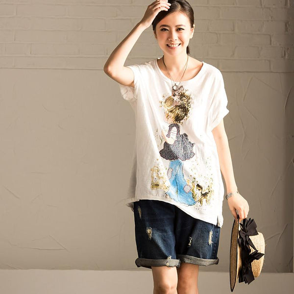 White Cotton Casual Lovely T-shirt T518B - FantasyLinen