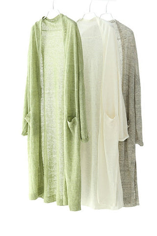 Natural Linen Open Long Knitwear Summer Women Clothes W0503A