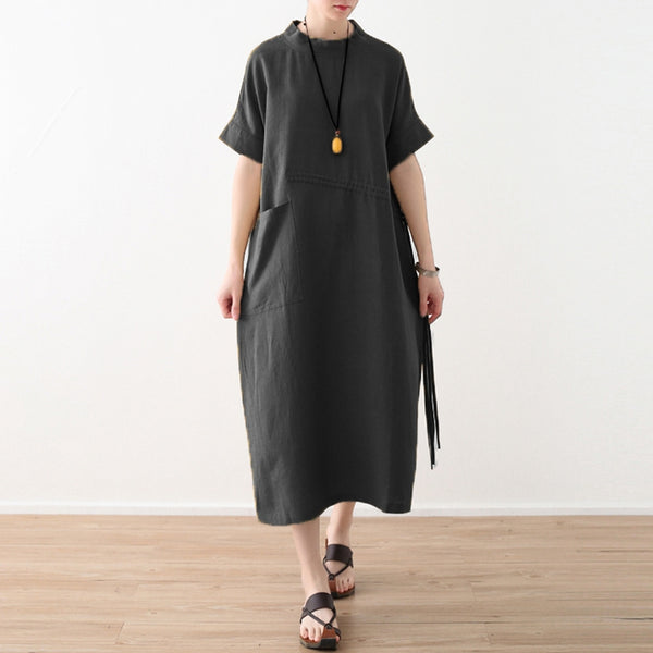Women's Casual Loose Linen Pure Color Dress