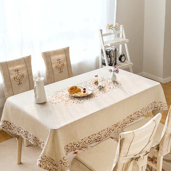 Linen Embroidered Tablecloth Round Square Rectangular Table Linens Custom Size Tablecloth