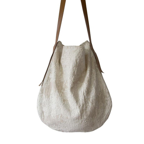 Handmade Large Cotton Shoulder Bag With Leather Straps