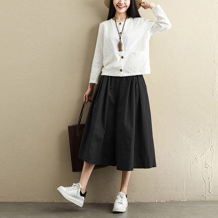 Women Summer Loose Wide-leg Pants Casual Cropped Trousers K045