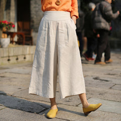 Simple Linen High Waist Wide Leg Women Pants