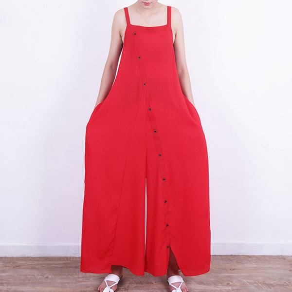 Button Front Casual Wide Leg Women Jumpsuits