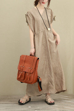 Art V-Neck Long Loose Linen Dress Women Clothes