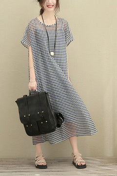Big Size Plaid Long Loose Polyester Two Piece Dress Women Clothes