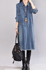 Women Cotton Vintage Denim Shirt Dress