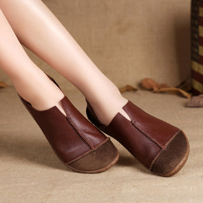 Fashionable Leather Retro Splicing Brown Women Single Shoes