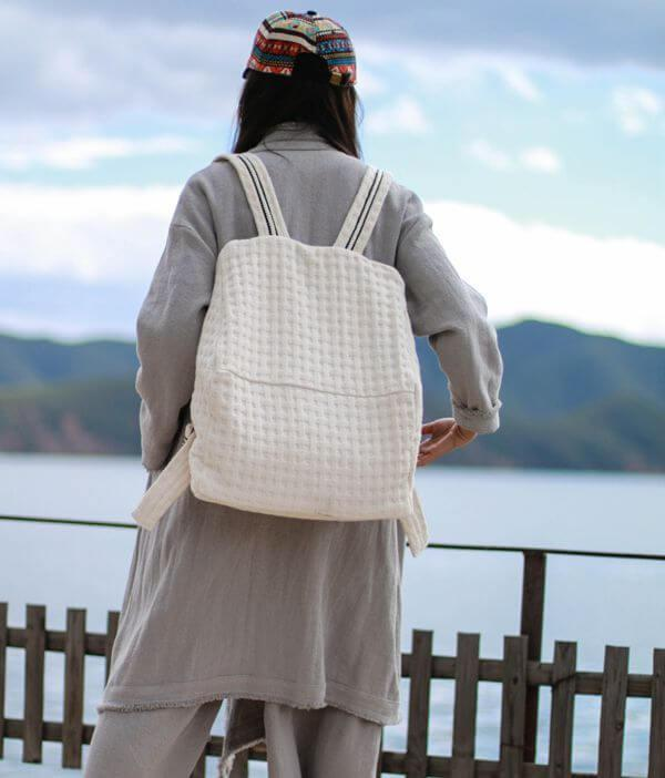 Women Canvas Backpack,Backpacks For Girls,Handmade Bag - FantasyLinen