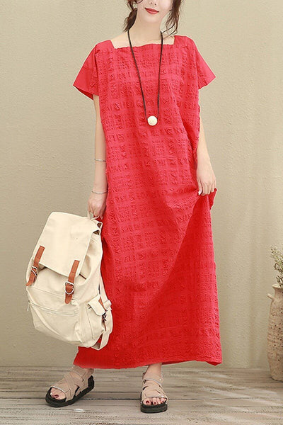 Red Plus Size Loose Casual Cotton Dress Women Clothes