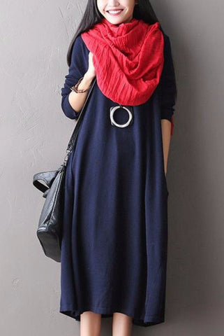 Soft Loose Casual Wool Long Dresses Women Clothes Q1418A