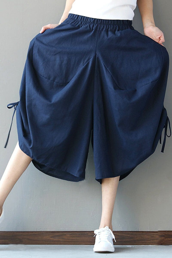 Plus Size Bow Tie Wide Leg Pants Women Trousers - FantasyLinen